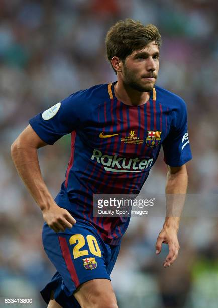 Sergi Roberto of Barcelona in action during the Supercopa de Espana Supercopa Final 2nd Leg match between Real Madrid and FC Barcelona at Estadio...