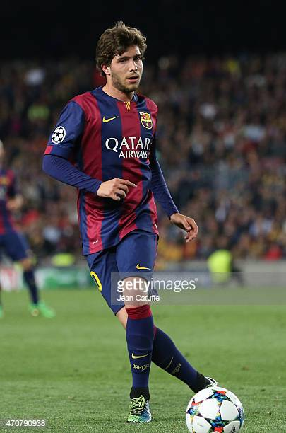 Sergi Roberto of Barcelona in action during the UEFA Champions League quarter final second leg match between FC Barcelona and Paris SaintGermain at...