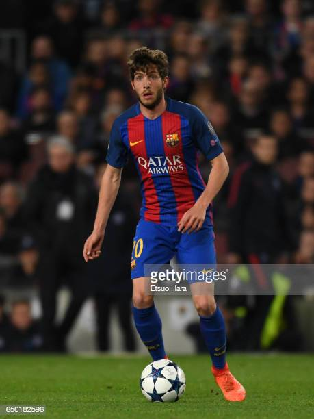 Sergi Roberto of Barcelona in action during the UEFA Champions League Round of 16 second leg match between FC Barcelona and Paris SaintGermain at...