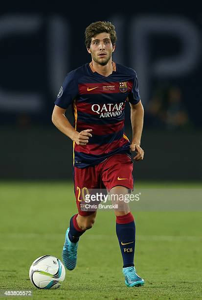 Sergi Roberto of Barcelona in action during the UEFA Super Cup match between Barcelona and Sevilla FC at Dinamo Stadium on August 11 2015 in Tbilisi...