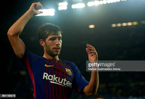 Sergi Roberto of Barcelona reacts during the UEFA Champions League group D match between FC Barcelona and Olympiakos Piraeus at Camp Nou on October...