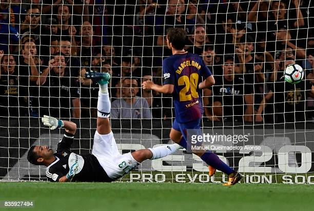 Sergi Roberto of Barcelona scoring his team's second goal during the La Liga match between Barcelona and Real Betis at Camp Nou on August 20 2017 in...