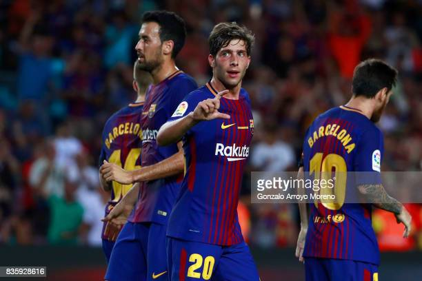 Sergi Roberto of FC Barcelona celebrates scoring their second goal with teammates during the La Liga match between FC Barcelona and Real Betis...