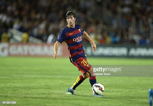 Sergi Roberto of FC Barcelona in action against the Los Angeles Galaxy in the International Champions Cup 2015 at Rose Bowl on July 21 2015 in...
