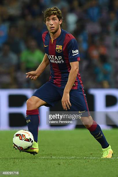 Sergi Roberto of FC Barcelona in action during the preseason friendly match between FC Barcelona and SSC Napoli on August 6 2014 in Geneva Switzerland