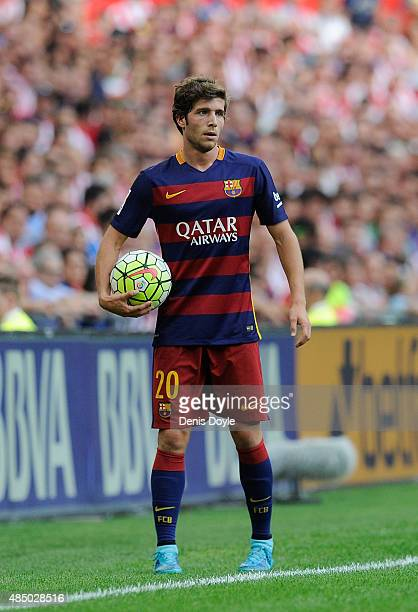 Sergi Roberto of FC Barcelona looks on during the La Liga match between Athletic Club and FC Barcelona at San Mames Stadium on August 23 2015 in...
