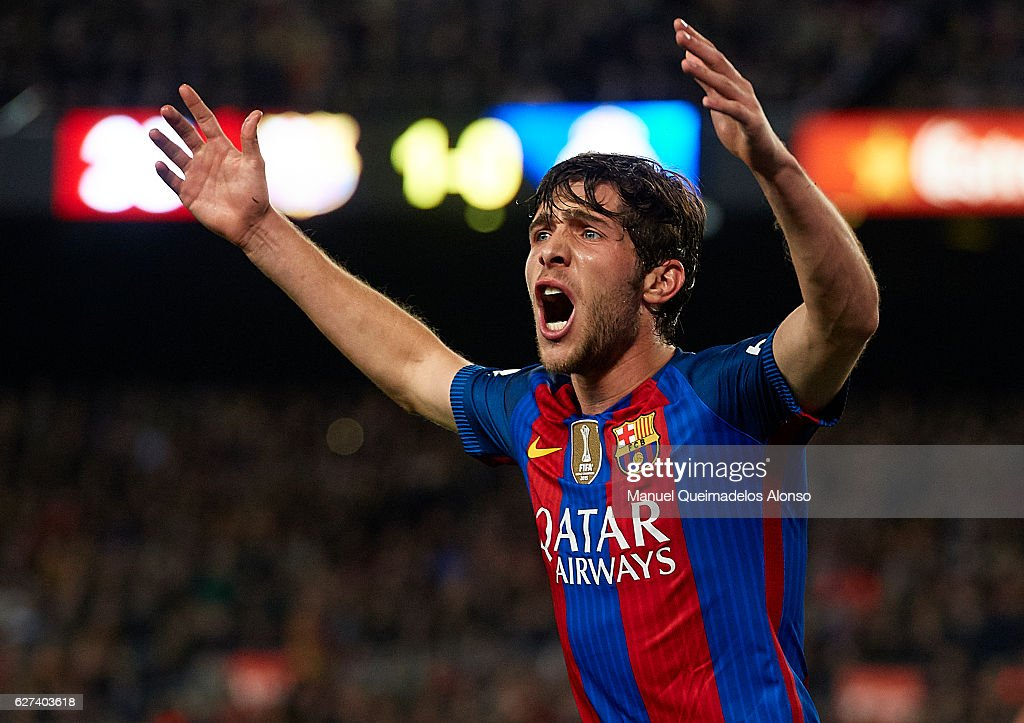 Sergi Roberto of FC Barcelona reacts during the La Liga match between FC Barcelona and Real Madrid CF at Camp Nou stadium on December 03 2016 in...