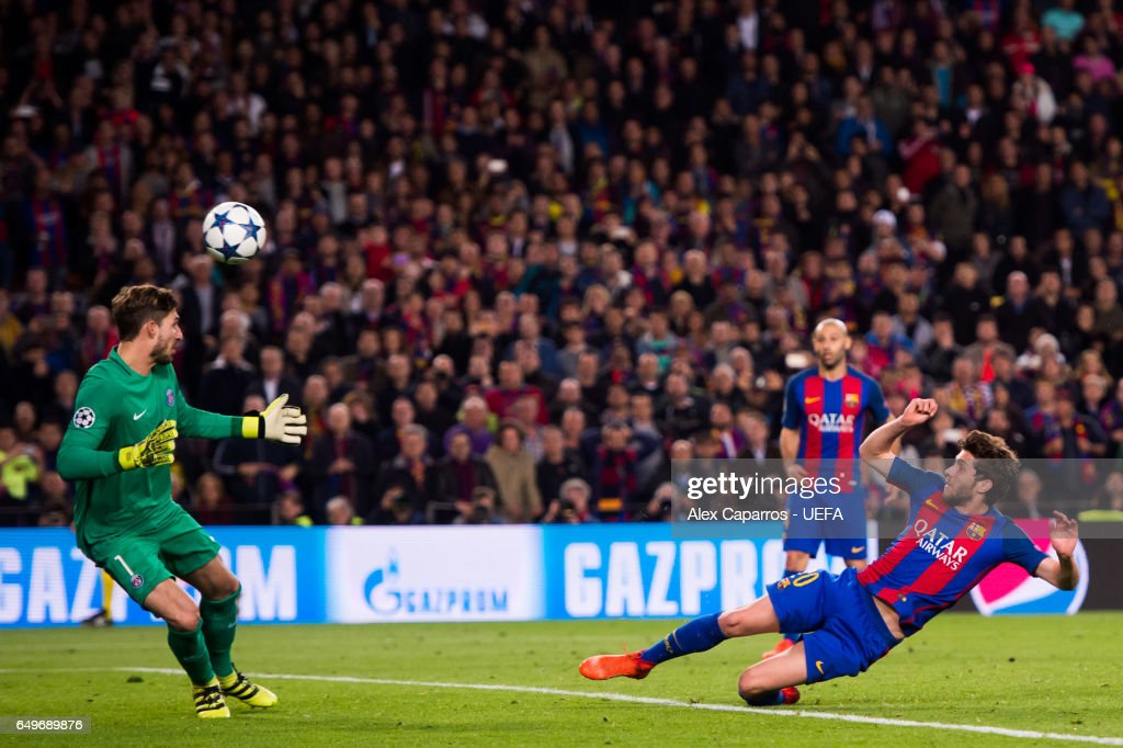 Sergi Roberto of FC Barcelona scores his team's sixth goal during the UEFA Champions League Round of 16 second leg match between FC Barcelona and Paris Saint-Germain at Camp Nou on March 8, 2017 in Barcelona, Spain.