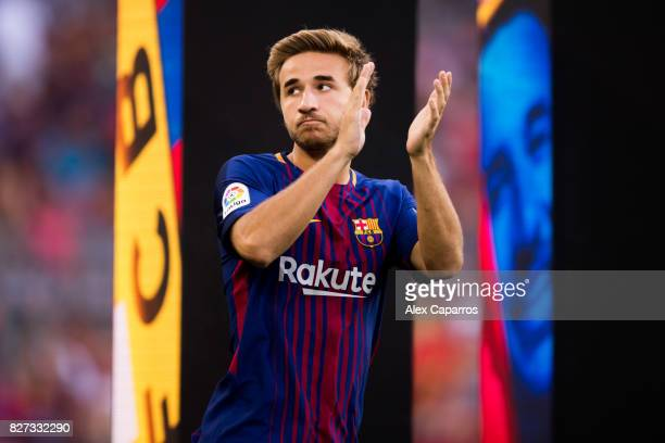 Sergi Samper of FC Barcelona enters the pitch ahead of the Joan Gamper Trophy match between FC Barcelona and Chapecoense at Camp Nou stadium on...