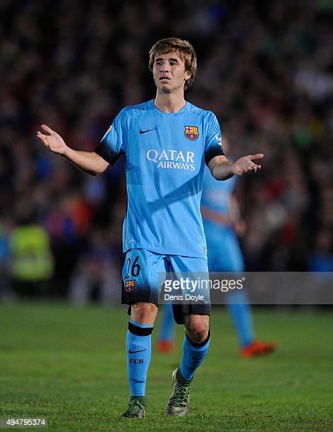 Sergi Samper of FC Barcelona reacts during the Copa del Rey Last of 16 First Leg match between CF Villanovense and FC Barcelona at estadio Romero...