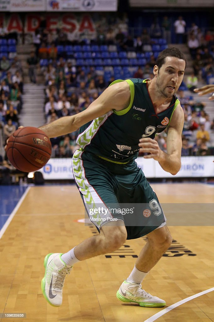 Sergi Vidal, #9 of Unicaja Malaga in action during the 2012-2013 Turkish Airlines Euroleague Top 16 Date 4 between Unicaja Malaga v Real Madrid at Palacio Deportes Martin Carpena on January 17, 2013 in Malaga, Spain.