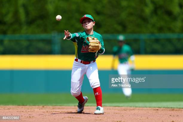 Sergio Adame of Team Mexico from Reynosa Mexico throws to first base for an out during Game 1 of the 2017 Little League World Series against Team...