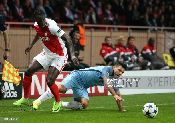 Sergio Aguero aka Kun Aguero of Manchester City and Benjamin Mendy of Monaco in action during the UEFA Champions League Round of 16 second leg match...