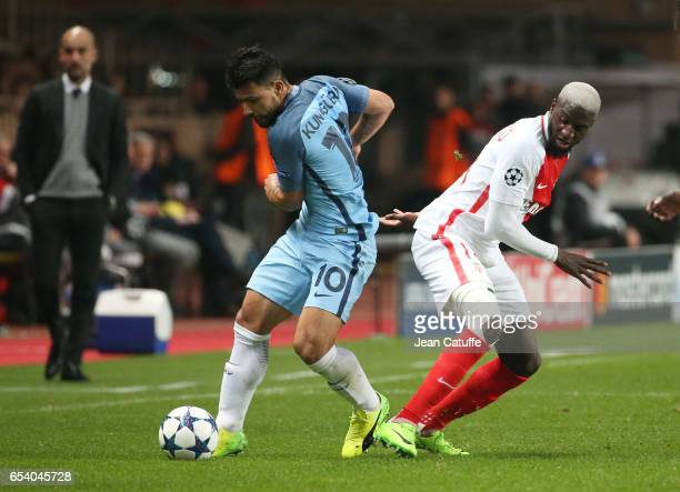 Sergio Aguero aka Kun Aguero of Manchester City and Tiemoue Bakayoko of Monaco in action during the UEFA Champions League Round of 16 second leg...