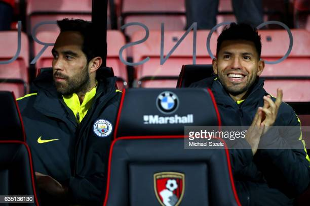 Sergio Aguero and Claudio Bravo of Manchester City sit on the bench before the Premier League match between AFC Bournemouth and Manchester City at...