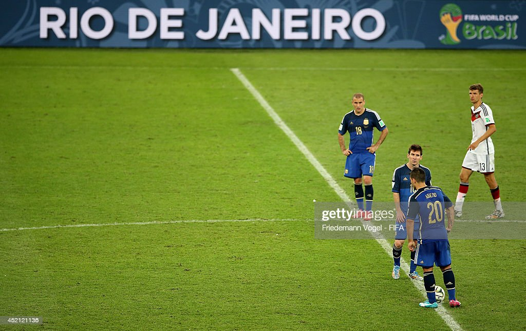 Sergio Aguero (2nd R) and Lionel Messi (3rd R) of Argentina react after conceding the Germany's first goal during the 2014 FIFA World Cup Brazil Final match between Germany and Argentina at Maracana on July 13, 2014 in Rio de Janeiro, Brazil.