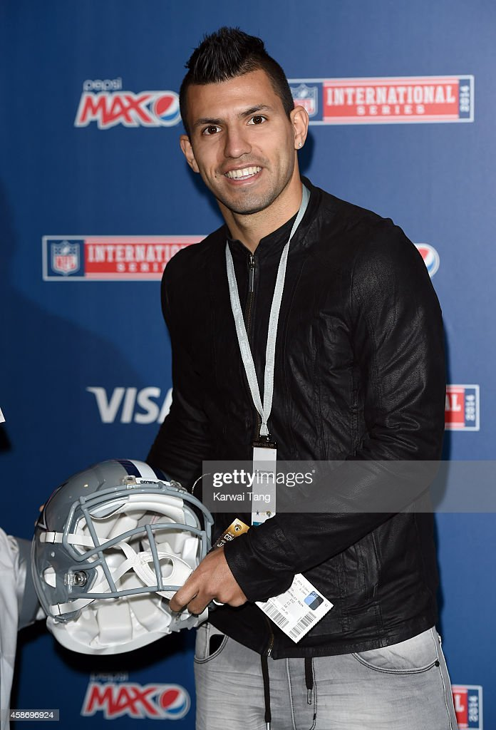 <a gi-track='captionPersonalityLinkClicked' href=/galleries/search?phrase=Sergio+Aguero&family=editorial&specificpeople=1100704 ng-click='$event.stopPropagation()'>Sergio Aguero</a> attends as the Dallas Cowboys play the Jacksonville Jaguars in an NFL match at Wembley Stadium on November 9, 2014 in London, England.