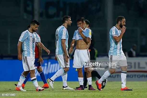 Sergio Aguero Lucas Pratto Paulo Dybala and Gonzalo Higuain of Argentina look dejected after a match between Argentina and Paraguay as part of FIFA...