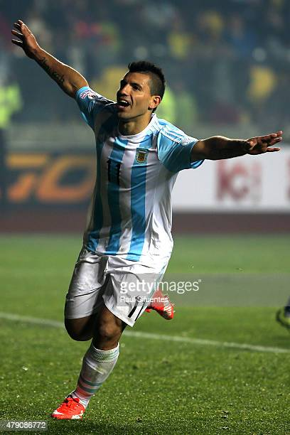 Sergio Aguero of Argentina celebrates after scoring the fifth goal of his team during the 2015 Copa America Chile Semi Final match between Argentina...