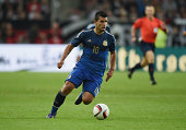 DUESSELDORF GERMANY September 03 Sergio Aguero of Argentina controls the ball during the international friendly match between Germany and Argentina...