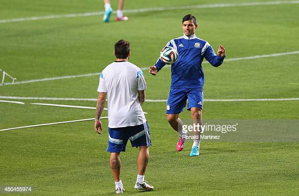 Sergio Aguero of Argentina during an open training session ahead of the 2014 FIFA World Cup on June 11 2014 in Belo Horizonte Brazil