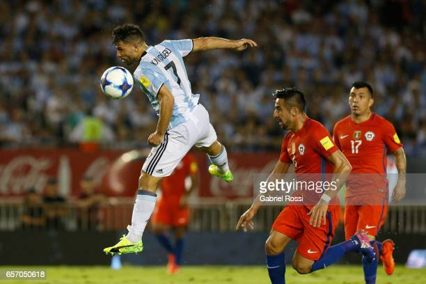 Sergio Aguero of Argentina heads the ball during a match between Argentina and Chile as part of FIFA 2018 World Cup Qualifiers at Monumental Stadium...