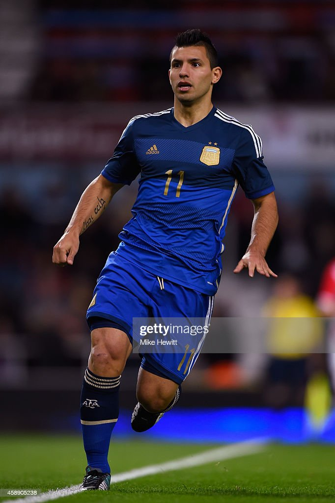 Sergio Aguero of Argentina in action during an International Friendly between Argentina and Croatia at Boleyn Ground on November 12 2014 in London...