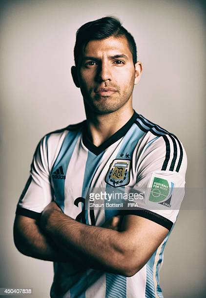 FILTERS Sergio Aguero of Argentina poses during the official FIFA World Cup 2014 portrait session on June 10 2014 in Belo Horizonte Brazil