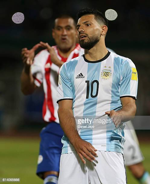Sergio Aguero of Argentina reacts after missing a penalty kick during a match between Argentina and Paraguay as part of FIFA 2018 World Cup...