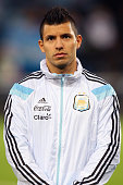 Sergio Aguero of Argentina stands during the playing of national anthems prior to the International Friendly between Argentina and Croatia at Boleyn...