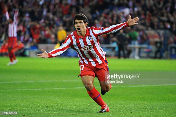 Sergio Aguero of Atletico Madrid celebrates after he scores the first goal of the game during Champions League Group D match between Atletico Madrid...
