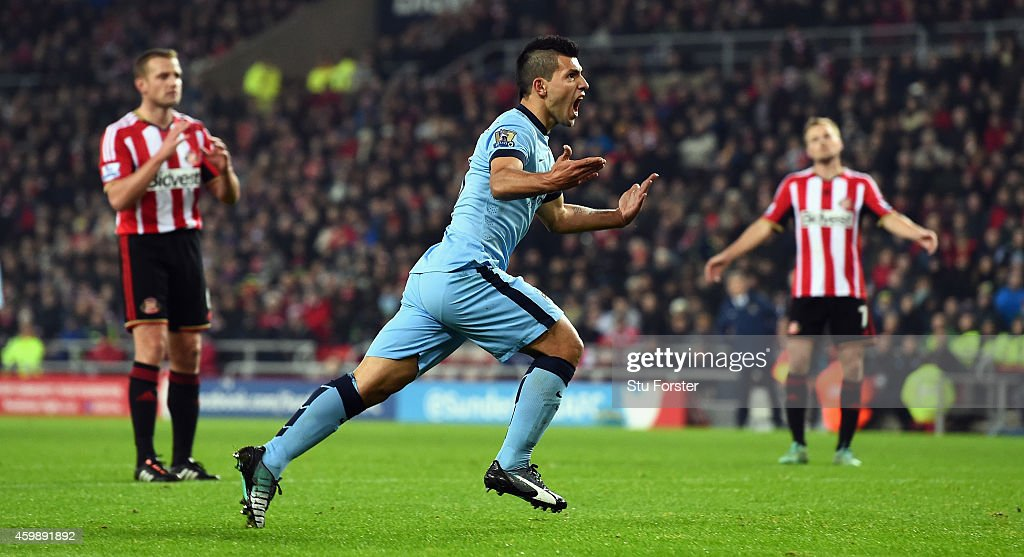 Sergio Aguero of City celebrates after scoring the first Manchester City goal during the Barclays Premier League match between Sunderland and...