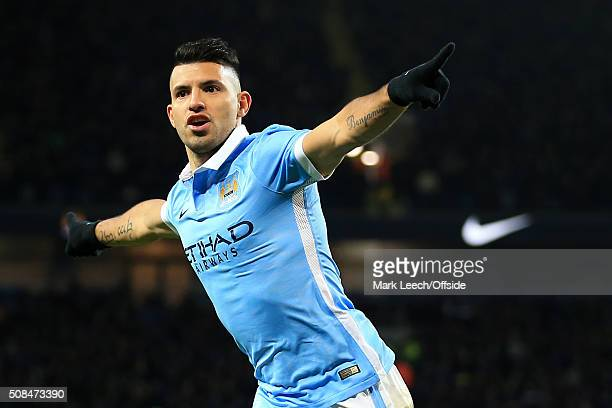 Sergio Aguero of Man City celebrates after scoring their 3rd goal during the Capital One Cup SemiFinal Second Leg match between Manchester City and...