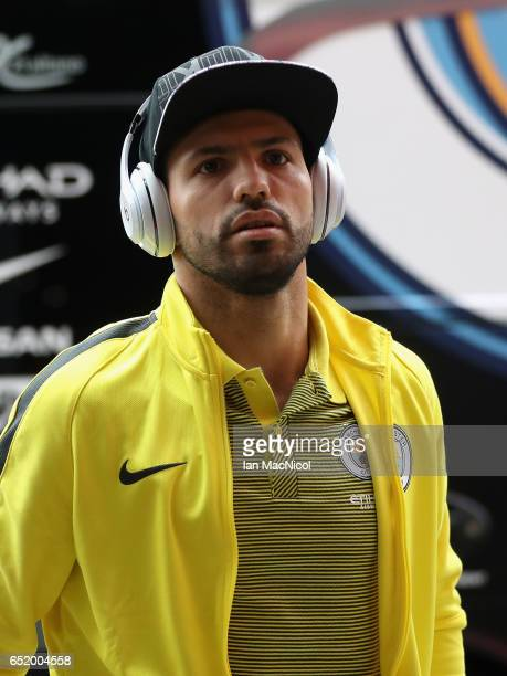 Sergio Aguero of Manchester Cit arrives at the stadium prior to The Emirates FA Cup QuarterFinal match between Middlesbrough and Manchester City at...