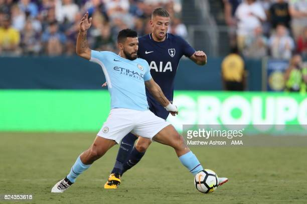 Sergio Aguero of Manchester City and Toby Alderweireld of Tottenham Hotspur during the International Champions Cup 2017 match between Manchester City...