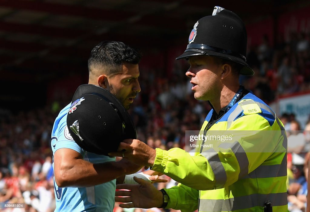 Sergio Aguero of Manchester City argues with a police man during the Premier League match between AFC Bournemouth and Manchester City at Vitality Stadium on August 26, 2017 in Bournemouth, England.