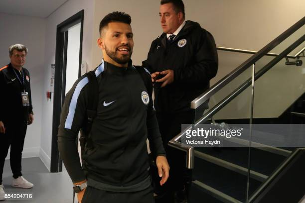 Sergio Aguero of Manchester City arrives at the stadium prior to the UEFA Champions League Group F match between Manchester City and Shakhtar Donetsk...