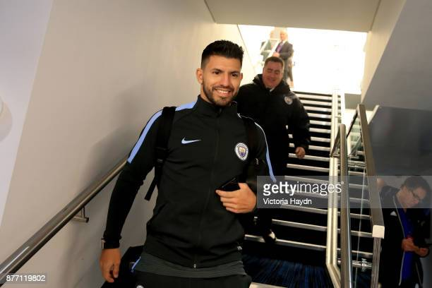 Sergio Aguero of Manchester City arrives to the stadium prior to the UEFA Champions League group F match between Manchester City and Feyenoord at...