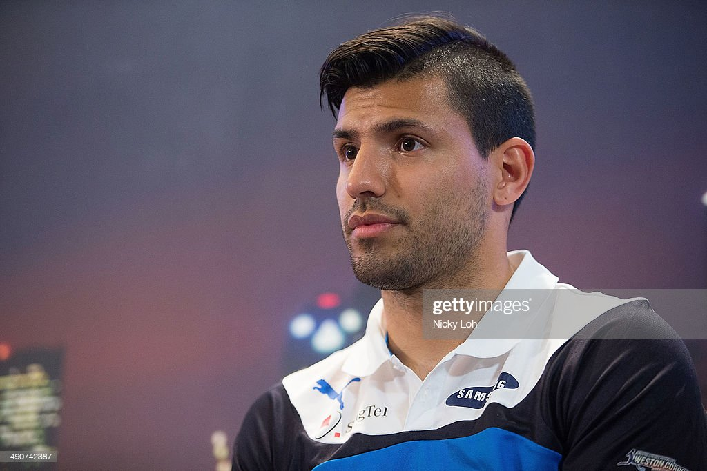 Sergio Aguero of Manchester City attends a press conference on May 15, 2014 in Singapore.