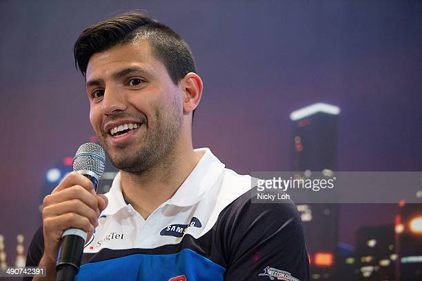 Sergio Aguero of Manchester City attends a press conference on May 15 2014 in Singapore