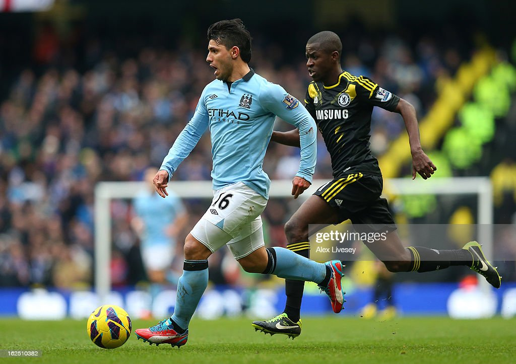 Sergio Aguero of Manchester City beats Ramires of Chelsea during the Barclays Premier League match between Manchester City and Chelsea at Etihad Stadium on February 24, 2013 in Manchester, England.