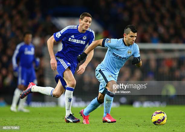 Sergio Aguero of Manchester City breaks away from Nemanja Matic of Chelsea during the Barclays Premier League match between Chelsea and Manchester...