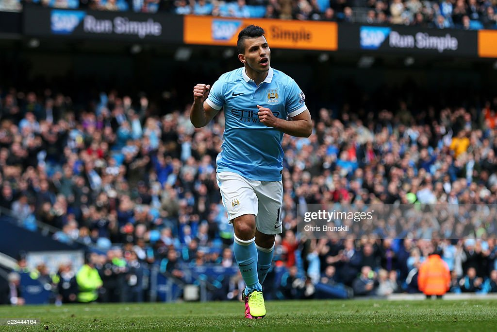 <a gi-track='captionPersonalityLinkClicked' href=/galleries/search?phrase=Sergio+Aguero&family=editorial&specificpeople=1100704 ng-click='$event.stopPropagation()'>Sergio Aguero</a> of Manchester City celebrates after he scores the second goal of the game during the Barclays Premier League match between Manchester City and Stoke City at Etihad Stadium on April 23, 2016 in Manchester, United Kingdom.