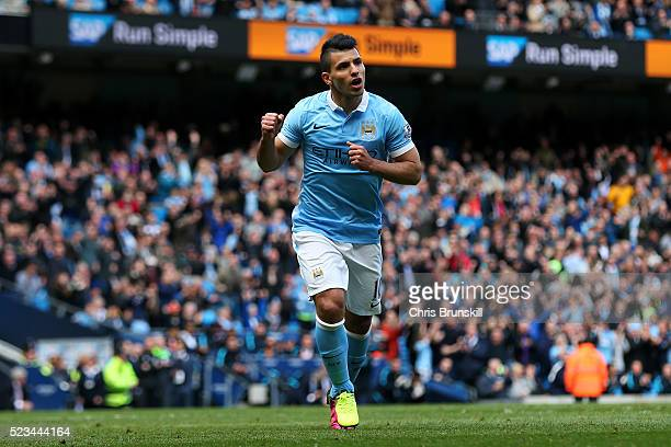 Sergio Aguero of Manchester City celebrates after he scores the second goal of the game during the Barclays Premier League match between Manchester...