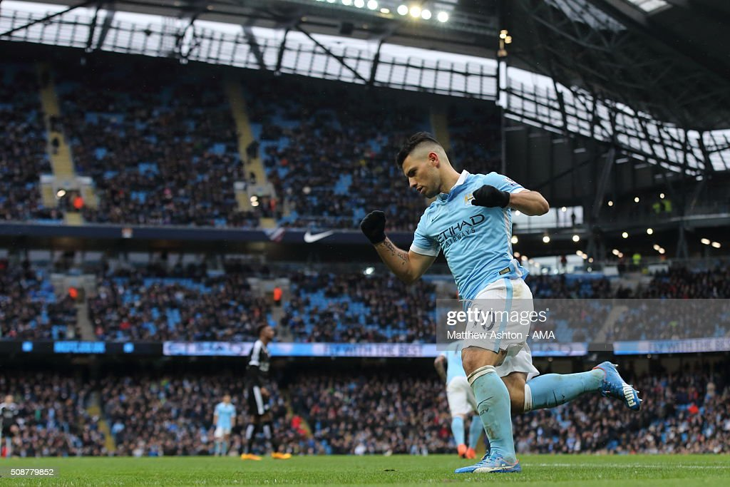 <a gi-track='captionPersonalityLinkClicked' href=/galleries/search?phrase=Sergio+Aguero&family=editorial&specificpeople=1100704 ng-click='$event.stopPropagation()'>Sergio Aguero</a> of Manchester City celebrates after scoring a goal to make it 1-3 during the Barclays Premier League match between Manchester City and Leicester City at the Etihad Stadium on February 06, 2016 in Manchester, England.