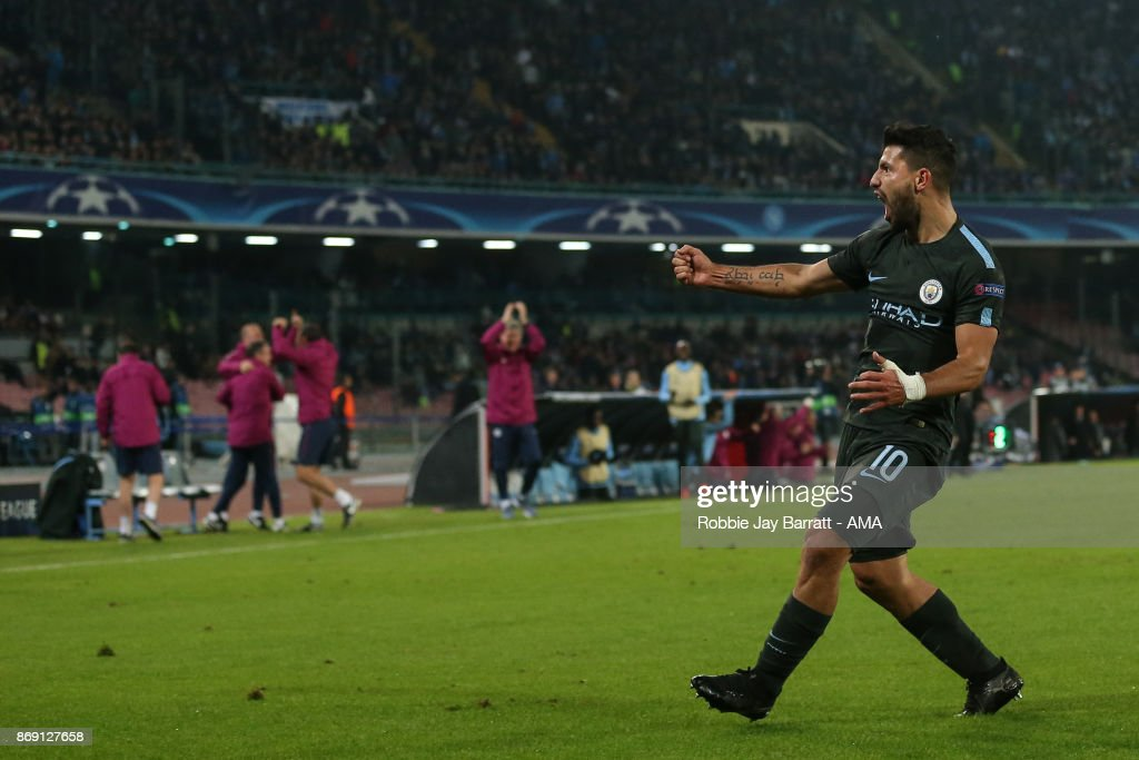 Sergio Aguero of Manchester City celebrates after scoring a goal to make it 2-3 during the UEFA Champions League group F match between SSC Napoli and Manchester City at Stadio San Paolo on November 1, 2017 in Naples, Italy.