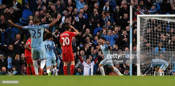 Sergio Aguero of Manchester City celebrates after scoring during the Premier League match between Manchester City and Liverpool at Etihad Stadium on...