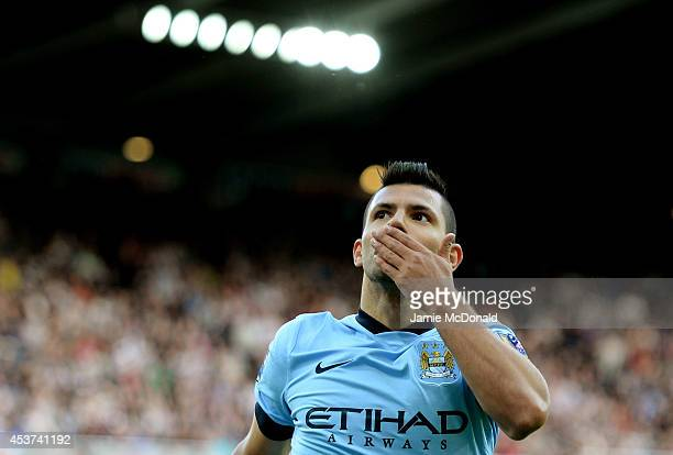 Sergio Aguero of Manchester City celebrates after scoring his team's second goal during the Barclays Premier League match between Newcastle United...