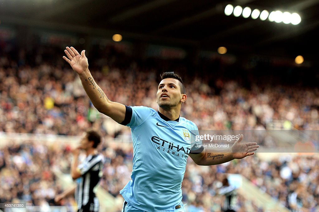 <a gi-track='captionPersonalityLinkClicked' href=/galleries/search?phrase=Sergio+Aguero&family=editorial&specificpeople=1100704 ng-click='$event.stopPropagation()'>Sergio Aguero</a> of Manchester City celebrates after scoring his team's second goal during the Barclays Premier League match between Newcastle United and Manchester City at St James' Park on August 17, 2014 in Newcastle upon Tyne, England.