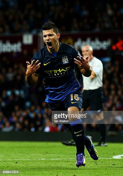 Sergio Aguero of Manchester City celebrates after scoring his team's second goal during the Barclays Premier League match between Aston Villa and...